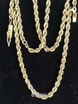 Vintage Estate 10k Solid Gold Necklace Rope Chain Designer Signed Ma Rope Tm