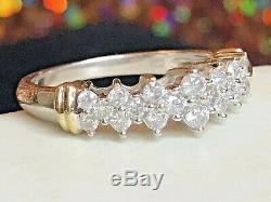 Vintage Estate 10k White Gold Natural Diamond Band Wedding Ring Signed Sk9