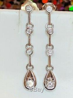Vintage Estate 10k White Gold Natural Diamond Earrings Drop Wedding Signed Fd