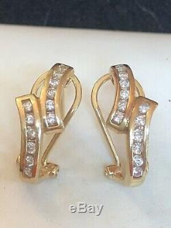Vintage Estate 10k Yellow Gold Natural Diamond Earrings Omega Backs Signed P
