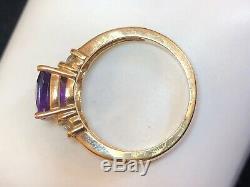 Vintage Estate 14k Gold Amethyst Diamond Ring Engagement Cushion Cut Signed CID