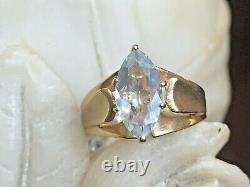 Vintage Estate 14k Gold Aquamarine Ring Marquise Gemstone Designer Signed Rjc