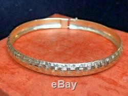 Vintage Estate 14k Gold Bangle Bracelet Hammered Designer Signed Hod Etched