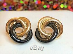 Vintage Estate 14k Gold Black Onyx Earrings Designer Signed Nabco Gemstone