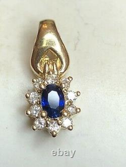 Vintage Estate 14k Gold Blue Sapphire Diamond Necklace Pendant Signed Cei