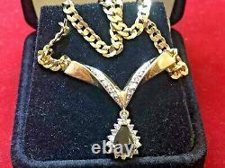 Vintage Estate 14k Gold Blue Sapphire Diamond Pendant Signed Aj Halo Necklace