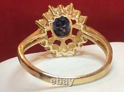 Vintage Estate 14k Gold Blue Sapphire Diamond Ring Engagement Wedding Signed