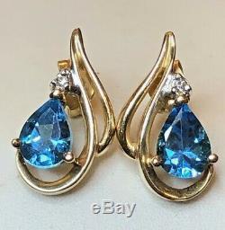 Vintage Estate 14k Gold Blue Topaz Diamond Earrings Studs Gemstones Signed