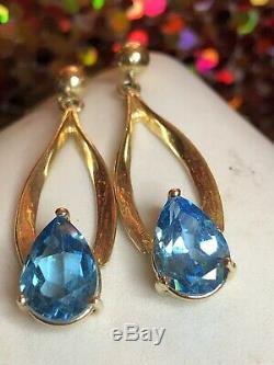 Vintage Estate 14k Gold Blue Topaz Earrings Gemstone Drop Dangle Signed Atl