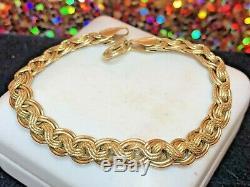 Vintage Estate 14k Gold Bracelet Designer Signed Milor Made In Italy Braided