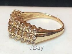 Vintage Estate 14k Gold Diamond Band 3 Row Champagne Diamonds Signed Fth