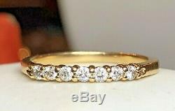 Vintage Estate 14k Gold Diamond Band Wedding Anniversary Ring Signed Zei