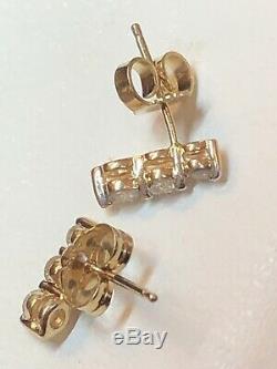 Vintage Estate 14k Gold Diamond Earrings Designer Signed Ma 3 Linear Diamonds
