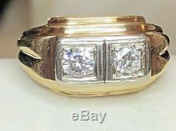 Vintage Estate 14k Gold Diamond Men's Ring Written Appraisal Signed Frco