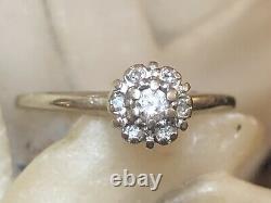 Vintage Estate 14k Gold Diamond Ring Floral Designer Signed Rorig