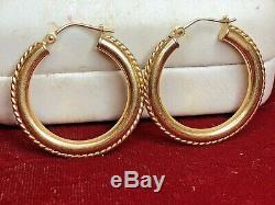Vintage Estate 14k Gold Earrings Hoops Designer Signed Eg Eternagold Rope Turned