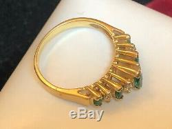 Vintage Estate 14k Gold Emerald & Diamond Ring Band Signed Bh Effy Wedding