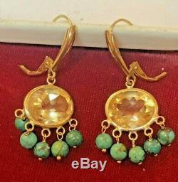 Vintage Estate 14k Gold Genuine Natural Citrine & Turquoise Earrings Signed Zb