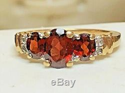Vintage Estate 14k Gold Genuine Natural Garnet Diamond Ring Designer Signed Thl