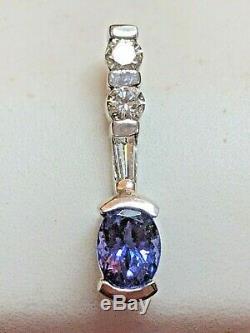 Vintage Estate 14k Gold Genuine Tanzanite & Diamond Pendant Signed Aj Necklace