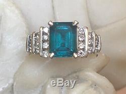 Vintage Estate 14k Gold Green Emerald & Diamond Ring Engagement Wedding Signed