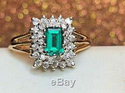 Vintage Estate 14k Gold Green Spinel Diamond Ring Wedding Engagement Signed Lls