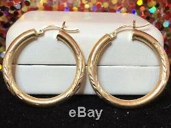 Vintage Estate 14k Gold Hoop Earrings Etched Brushed Flower Designer Signed DM