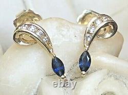 Vintage Estate 14k Gold Natural Blue Sapphire & Diamond Earrings Signed Doss