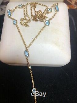 Vintage Estate 14k Gold Natural Blue Topaz Necklace Signed Sj Station Gemstone
