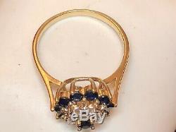 Vintage Estate 14k Gold Natural Blue & White Sapphire Ring Signed T & C Flower