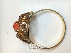 Vintage Estate 14k Gold Natural Coral Ring Signed Fs 585 Art Deco Etruscan