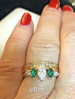 Vintage Estate 14k Gold Natural Diamond Color E Ring Emerald 3 Ring Set Signed