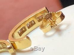 Vintage Estate 14k Gold Natural Diamond Earrings J-hook Signed Channel Set