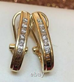 Vintage Estate 14k Gold Natural Diamond Earrings Omega Backs Signed Aj