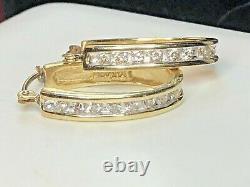Vintage Estate 14k Gold Natural Diamond Earrings Signed Adl Hoops