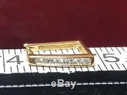 Vintage Estate 14k Gold Natural Diamond Earrings Signed Square Hoop