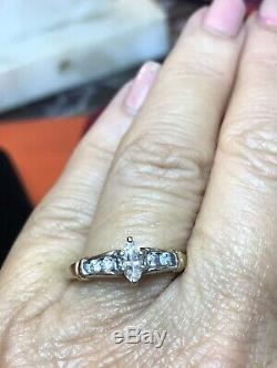 Vintage Estate 14k Gold Natural Diamond Ring Marquise Designer Signed Aj