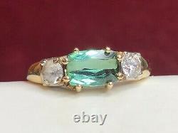 Vintage Estate 14k Gold Natural Green Amethyst Quartz Ring Signed F P Gemstone