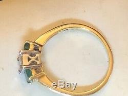Vintage Estate 14k Gold Natural Green Emerald Diamond Ring Gemstone Signed Aj