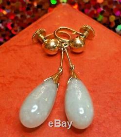 Vintage Estate 14k Gold Natural Green Jade Jadeite Earrings Drop Dangle Signed