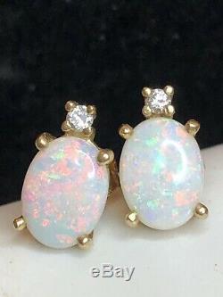 Vintage Estate 14k Gold Natural Opal & Diamond Earrings Signed