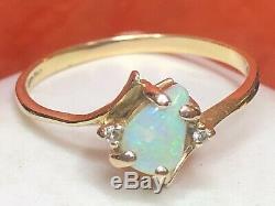 Vintage Estate 14k Gold Natural Opal & Diamond Ring Bypass Signed Gemstone
