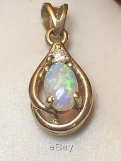 Vintage Estate 14k Gold Natural Opal Natural Diamond Pendant Signed Gemstone