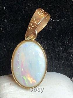 Vintage Estate 14k Gold Natural Opal Pendant Charm Designer Signed 585