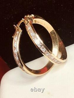 Vintage Estate 14k Gold Natural White Quartz Earrings Hoops Signed Gemstone