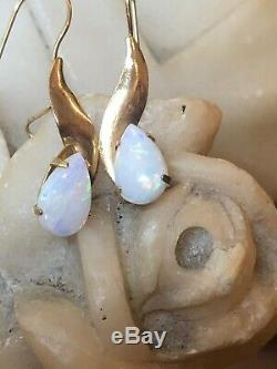 Vintage Estate 14k Gold Opal Earrings Signed Zz Art Deco Syle French Wire