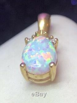 Vintage Estate 14k Gold Opal & Natural Diamond Pendant Signed Ema Gemstone