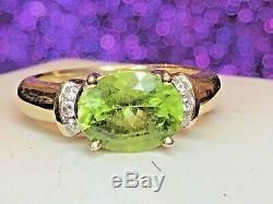 Vintage Estate 14k Gold Peridot Diamond Ring Designer Signed Gillian Conroy