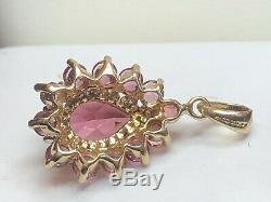 Vintage Estate 14k Gold Pink Tourmaline Pendant Made In Mexico Gemstone Signed