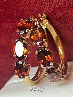 Vintage Estate 14k Gold Red Garnet Hoops Signed S Gemstone